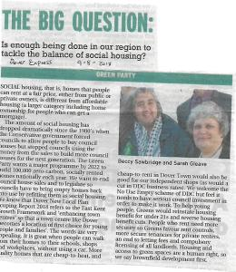 News clipping Dover Express article on social housing