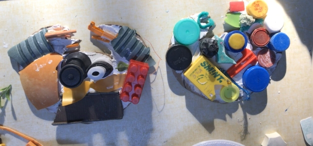 Crabs made from rubbish collected on Deal Beach Clean, including lego bricks, Smint boxes, various plastic lids etc