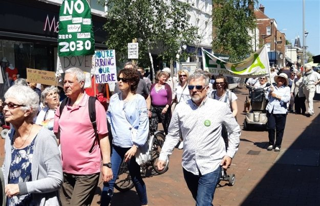 Sunny day for the climate march in Deal high street