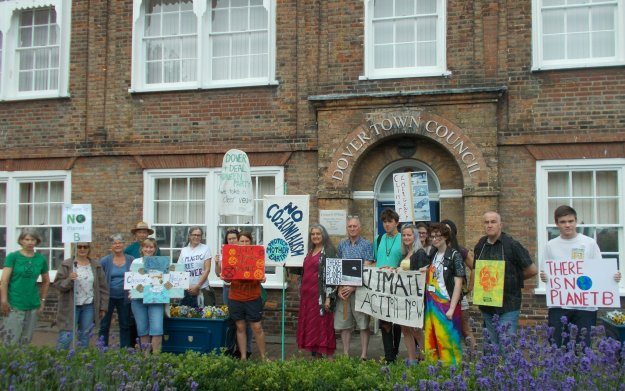 Green party activists outside Dover Town Council